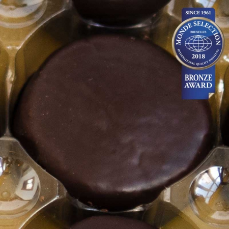 Toritos de chocolate al detalle de confitería Galicia. Pastas premiadas por Monde Selection