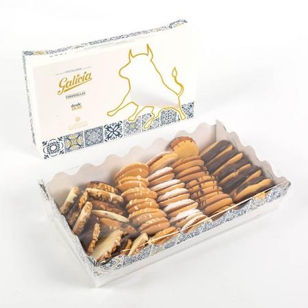 Caja con variedad de pastas de té artesanas de Pastelería Galicia