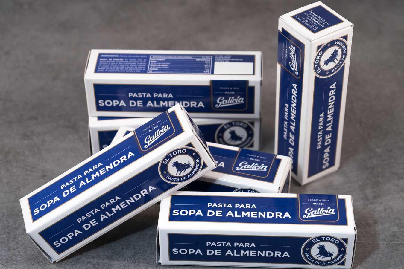 Envases de cartón de pasta para hacer sopa de almendras de dulces Galicia