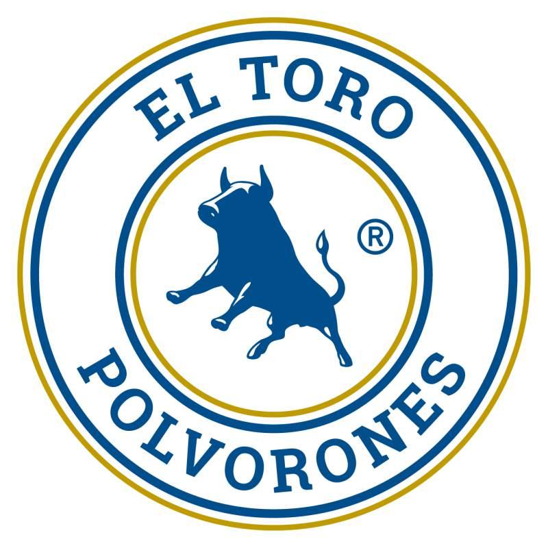 Logotipo grande de polvorones El Toro con aro azul, dorado y 2019